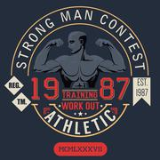 T-shirt Printing design, typography graphics, strong man contest, trening and Stock Illustration