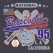 Baseball sport typography, Eastern league los angeles, sketch of crossed base Stock Illustration