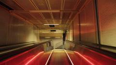 A modern neon escalator in Oslo, Norway, Europe. Stock Footage