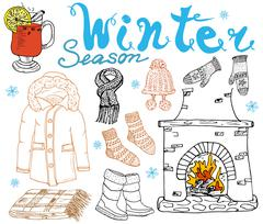 Winter season set doodles elements. Hand drawn set with glass of hot wine, bo Stock Illustration