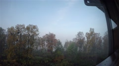 Time-lapse of a foggy morning view, with lots of autumn colors, in Tromso, in Stock Footage