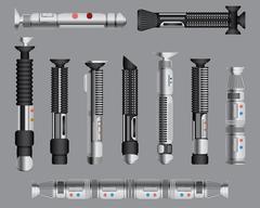 Light swords handles set. Futuristic melee sci fi Weapon, cosmic shiny neon f Piirros