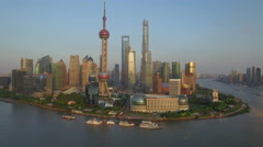SHANGHAI THE BUND DRONE AERIAL FLYING OVER CHINA Stock Footage