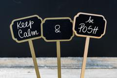 Keep Calm and Be Posh message written with chalk on mini blackboard labels Stock Photos