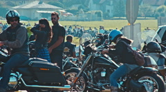 Bikers line up for the Harley Davidson parade at the European Bike Week Stock Footage