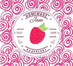 Jam label design template. for raspberry dessert product with hand drawn sket Stock Illustration