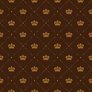 Royal wallpaper seamless pattern with crown and decorative elements. Luxury b Stock Illustration