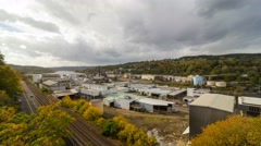 Time lapse of clouds over Willamette Falls in Oregon City one autumn day 4k uhd Stock Footage