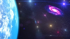 HD Loopable Background with nice spiral galaxy and earth Stock Footage