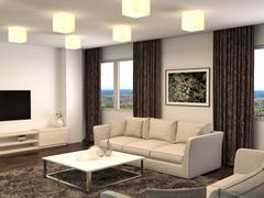 Interior with sofa. 3d illustration Stock Illustration