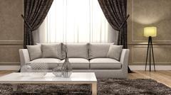 Classic interior with sofa. 3d illustration Stock Illustration