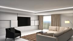 Interior with sofa. 3d illustration Stock Illustration