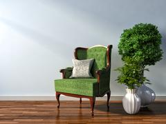 Interior with chair and plant. 3d illustration Piirros