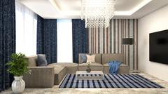 Blue interior with sofa and red curtains. 3d illustration Stock Illustration