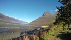 Time-lapse of autumn colors at the mountains, at Elsnes near Ski Stock Footage