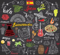 Spain doodles elements. Hand drawn set with spanish lettering, food paella, s Stock Illustration