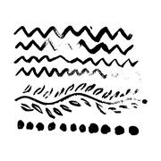 Collection of vector art brushes. Hand crafted custom grunge  with rough edge Stock Illustration