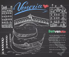 Venice Italy sketch elements. Hand drawn set with flag, map, gondolas, houses Piirros