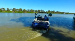 Speed boat on the river murray Stock Footage