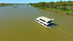 House boat on the river murray Stock Footage