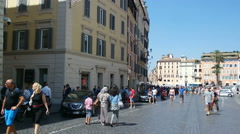 ROME, ITALY - SEPTEMBER 4, 2016. Piazza di Spagna square tourists visiting Rome Stock Footage