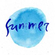 Modern and stylish typographic design poster. Hand lettered text Summer on a Stock Illustration