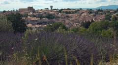 Panorama of a village in South of France with lavender Stock Footage
