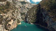 Panorama of River Canyon in France Stock Footage