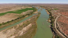 Aerial view of the Orange river, Northern Cape, South Africa Stock Footage