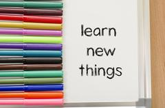 Learn new things text concept Stock Photos