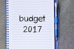 Budget 2017 text concept on notebook Stock Photos