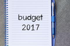 Budget 2017 text concept on notebook Kuvituskuvat
