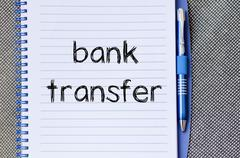 Bank transfer text concept on notebook Kuvituskuvat