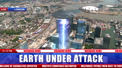 Alien UFO Flying Saucer Hovering and Attacking City Buildings 2 Stock Footage