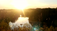 Beautiful landscape from the rock, a forest and a river. Reflected in the water Stock Footage