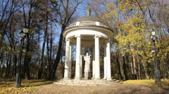 "Gazebo ""Temple of Ceres"" at autumn, museum-reserve Tsaritsyno, Moscow, Russia Stock Footage"