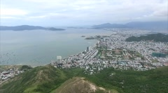 Aerial View on Town, Sea, Coast and Mountains Stock Footage