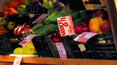 Lemons, Tomatoes, Oranges, Pomegranates, Kale, Grapes With Labels in Russian Are Stock Footage