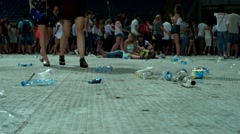 Plastic bottles, a lot of debris lying on the ground, people kicked the plastic Stock Footage