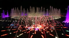Light and music fountain in Tsaritsyno at night, Moscow, Russia Stock Footage