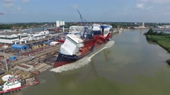 Ship Launch Aerial Footage Stock Footage