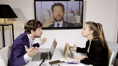 Business man shouting angry to coworker in conference call Stock Footage