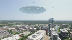 Alien UFO Flying Saucer Hovering and Attacking City Buildings Stock Footage