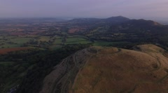Long wide aerial view of British Camp in the Malvern Hills. Stock Footage