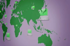 Computer background - world moving from right to left - vector animation - bl Stock Footage