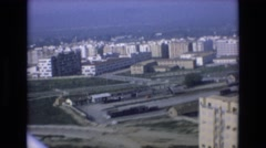 1969: view of an ocean front city skyline streets and an endless blue horizon Stock Footage