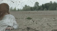 The explosion of the bomb. The wounded girl falls to the ground. Stock Footage