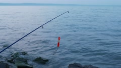 4K Fishing Rod and Bite Signal in Early Morning 1 Stock Footage