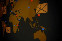 Emails background - world moving from right to left - vector animation - blac Stock Footage
