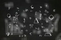 Hand-Drawn Numbers - Background Loop - Symbols and drawings - black Chalkboar Stock Footage